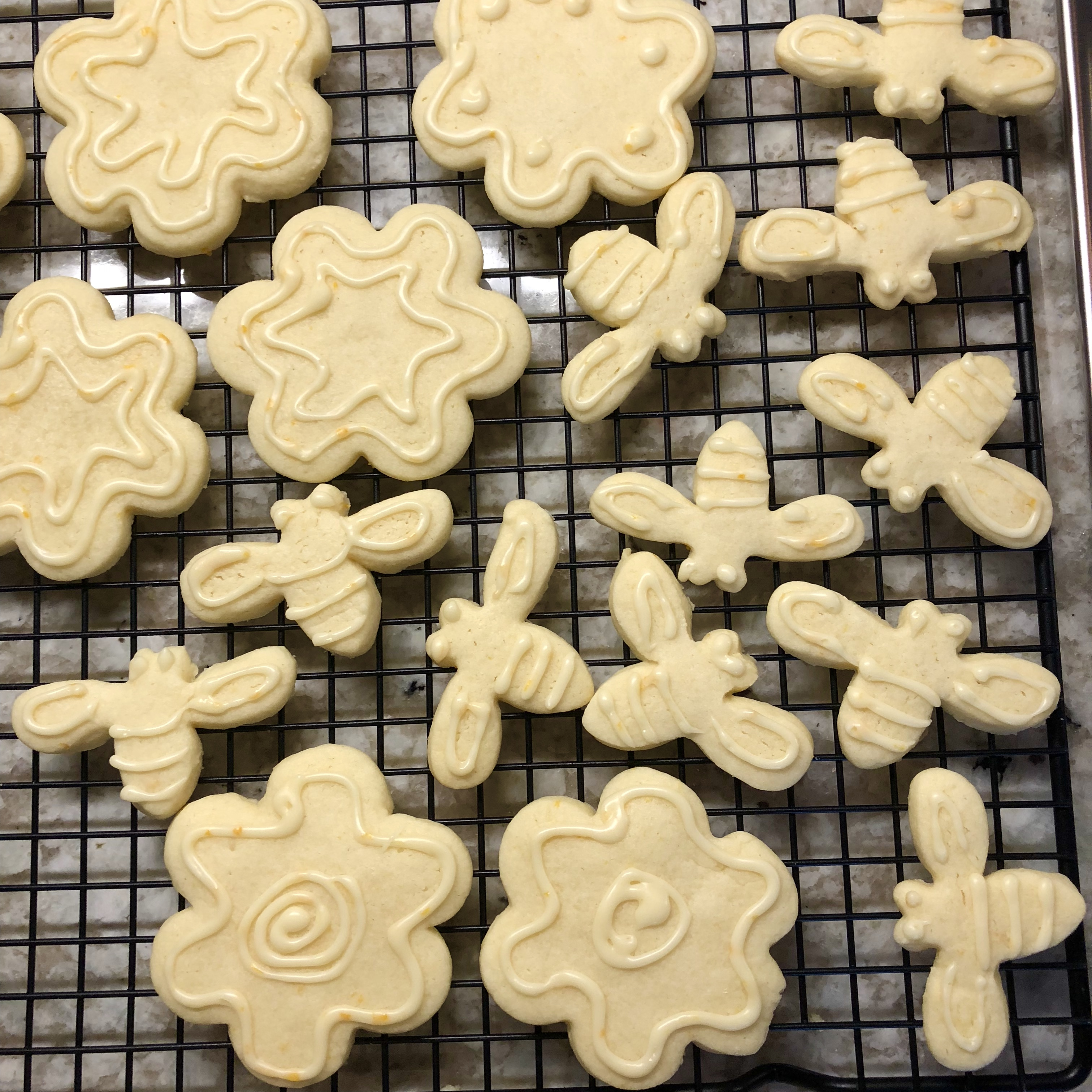 Bee and flower cutout cookies